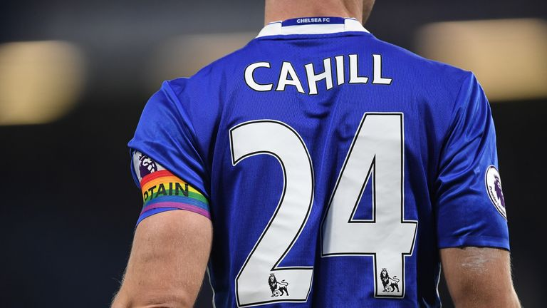Chelsea captain Gary Cahill shows his support