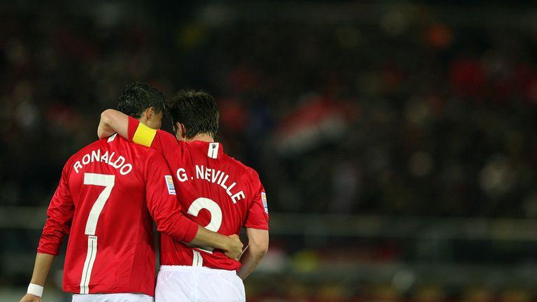 Gary Neville and Cristiano Ronaldo embrace