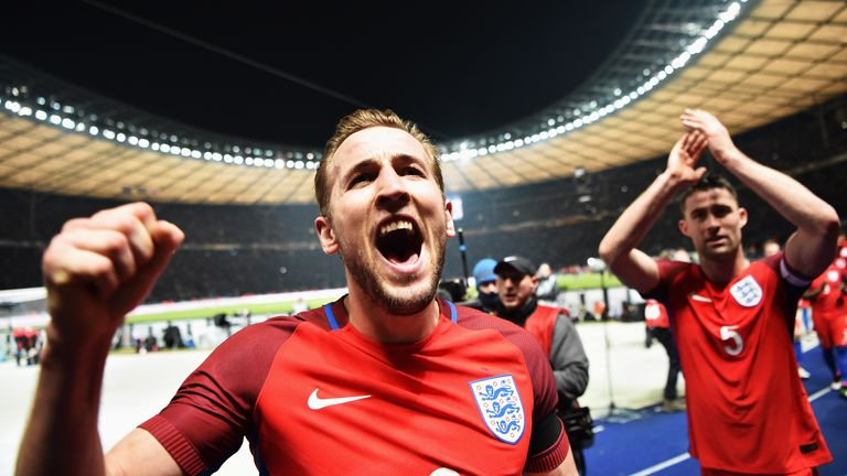 Harry Kane celebrates England's 3-2 win over Germany in Berlin