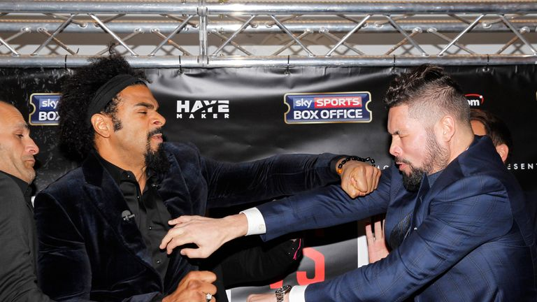 Security staff had to separate Haye and Bellew on Wednesday