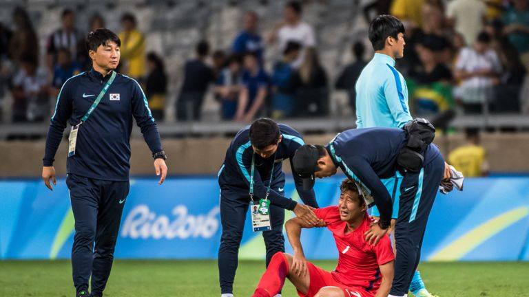 Son shows his despair at South Korea's defeat to Honduras at the Olympics