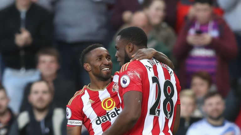 Jermain Defoe celebrates scoring his 150th Premier League goal with Victor Anichebe, who added two of his own in a 3-0 win over Hull City