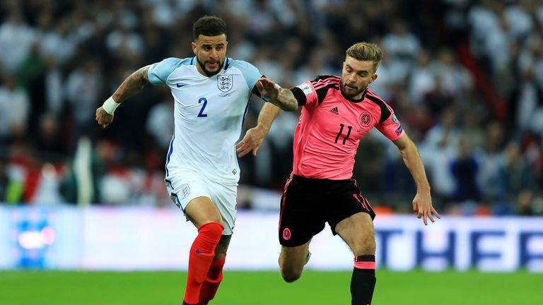 Kyle Walker battles with James Morrison in the first half