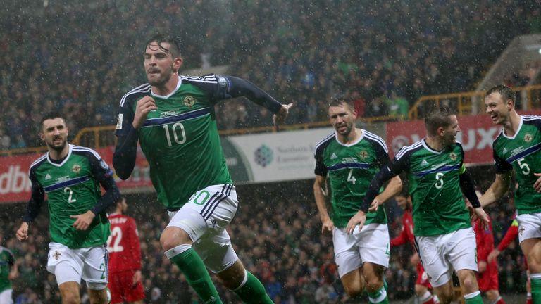 Northern Ireland's Kyle Lafferty (second from left) celebrates scoring