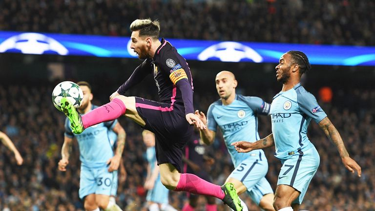 Barcelona star Lionel Messi controls the ball during the match with Manchester City