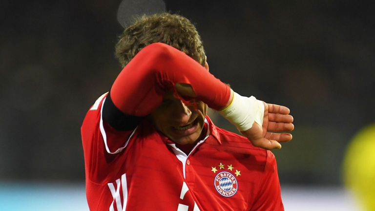 Thomas Muller reacts after Bayern Munich's 1-0 defeat