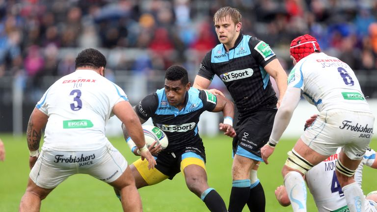 Niko Matawalu in action for Glasgow against his new employers Exeter in the European Cup