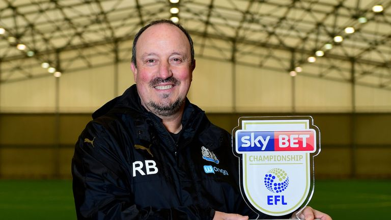 Newcastle manager Rafael Benitez is October's Sky Bet Championship manager of the month