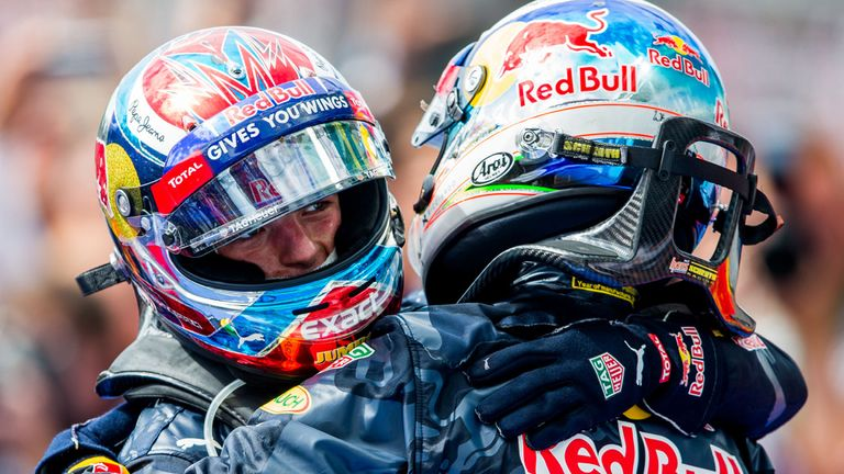 Max Verstappen celebrates with Red Bull team-mate Daniel Ricciardo after winning the Spanish GP - Picture from Getty Images
