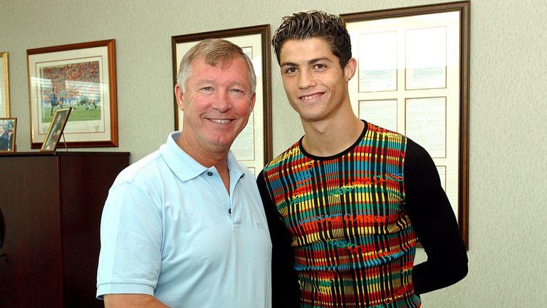 Sir Alex greets Cristiano at Man Utd's training ground