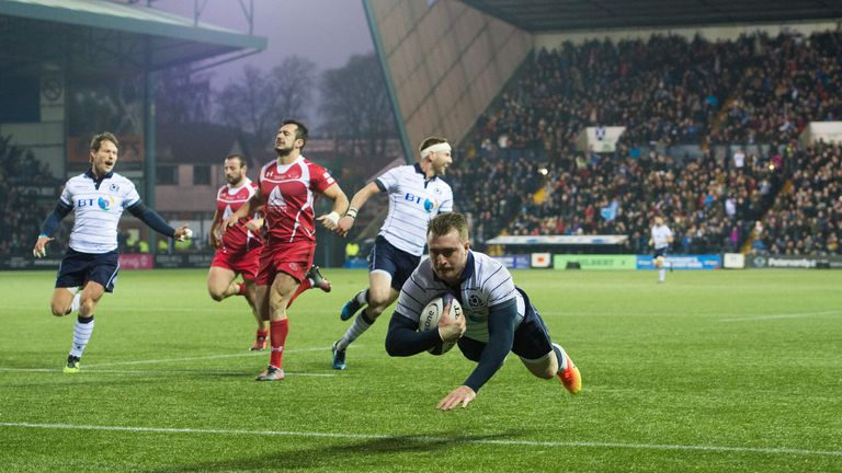 Stuart Hogg scored a try in either half at Rugby Park