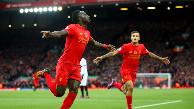 Sadio Mane scored twice during the win at Anfield
