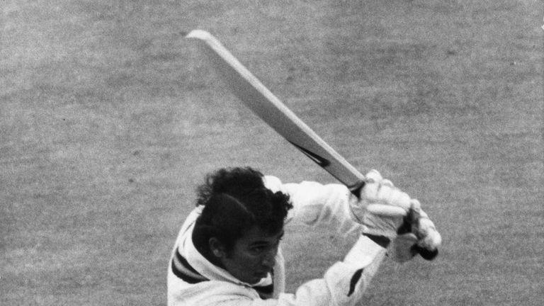 Indian opening batsman Sunil Gavaskar drives a ball to the boundary
