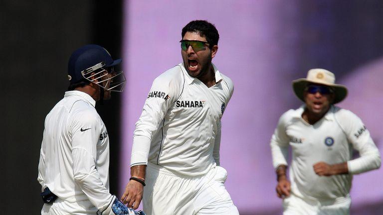 Yuvraj celebrates dismissing Pietersen in Chennai in 2008