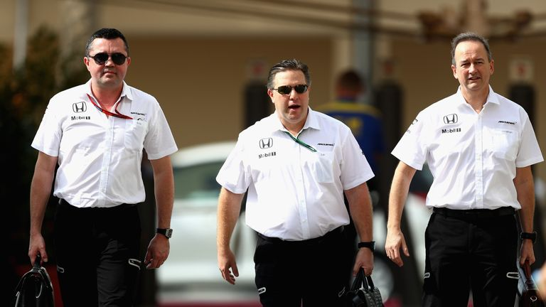 McLaren's new management hierarchy: Brown (centre), Eric Boullier (left) and Jonathan Neale (right)