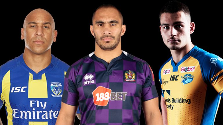 Matty Blythe, Thomas Leuluai and Stevie Ward model their teams' respective kits for 2017
