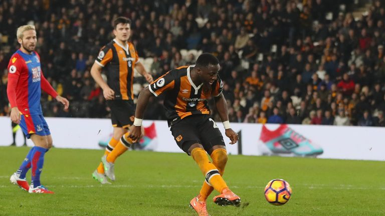 Adama Diomande of Hull scores their second goal during a great game at the KCOM
