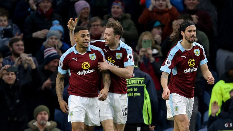 Gray (left) celebrates giving Burnley the lead