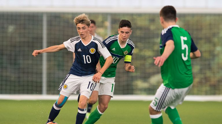 Gilmour in action for Scotland U16s in the Victory Shield