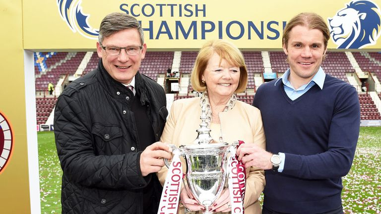 Craig Levein and Robbie Neilson with Hearts owner Ann Budge and the Championship trophy