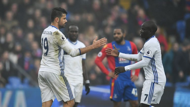 Diego Costa (L) and N'Golo Kante celebrate  Chelsea's win at Crystal Palace