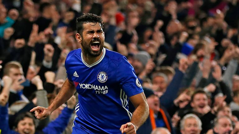 Diego Costa celebrates scoring Chelsea's fourth goal