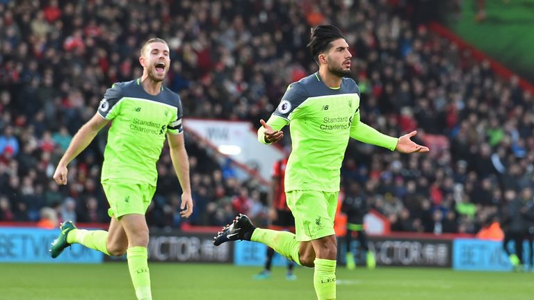 Emre Can scored Liverpool's third with a curling effort