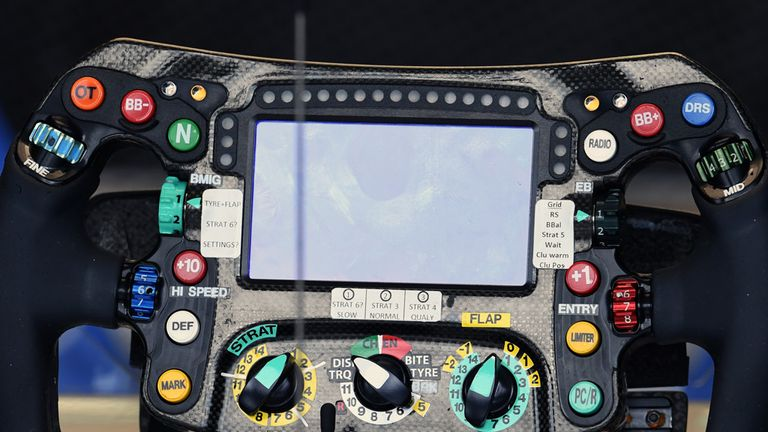 A complex business: the steering wheel of the Mercedes W07 - Picture from Sutton Images