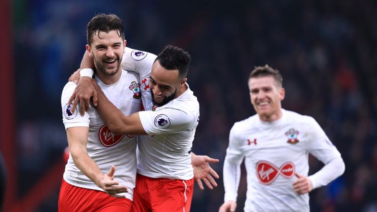 Rodriguez and team-mate Nathan Redmond celebrate Southampton's third goal at the Vitality Stadium