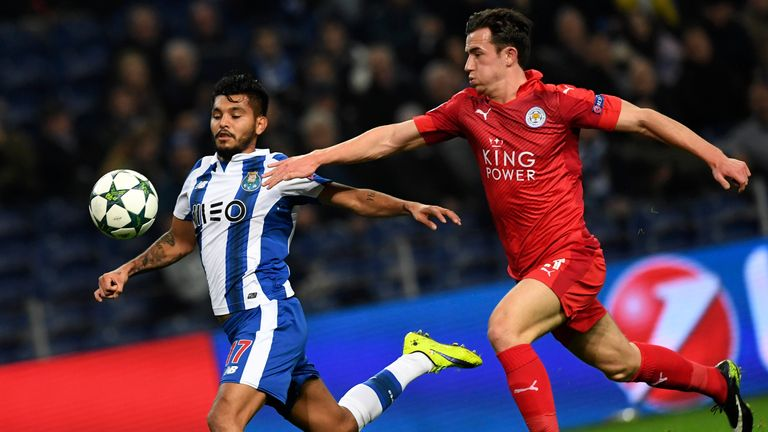 Jesus Corona (left) vies with Leicester defender Ben Chilwell