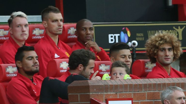 Kai Rooney pictured in the Old Trafford dugout at his father's testimonial in August 2016