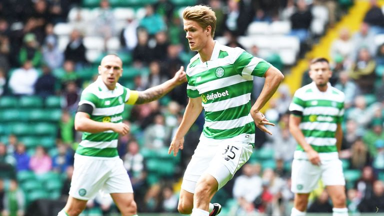 Kristoffer Ajer in pre-season action for Celtic
