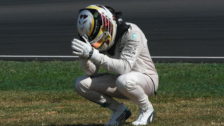 Lewis Hamilton reacts to his Malaysia GP retirement - Picture from Sutton Images