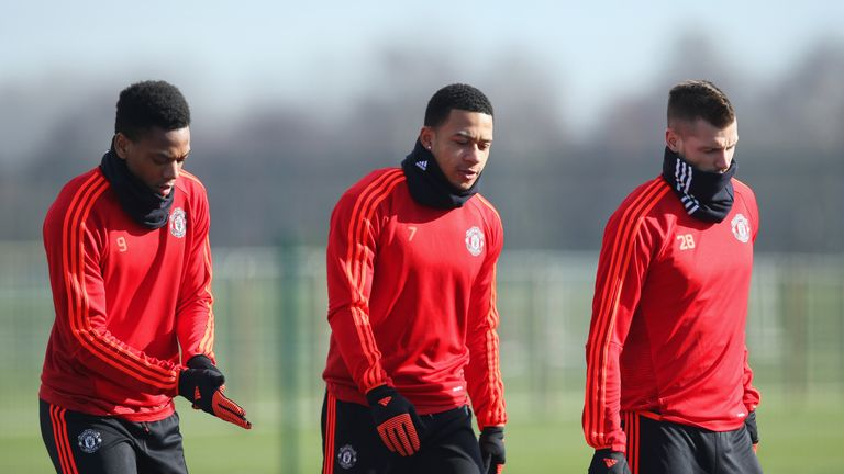 Memphis Depay (left) has also been linked with a move away from Old Trafford this month