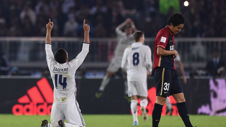 Casemiro of Real Madrid celebrates after a Ronaldo goal