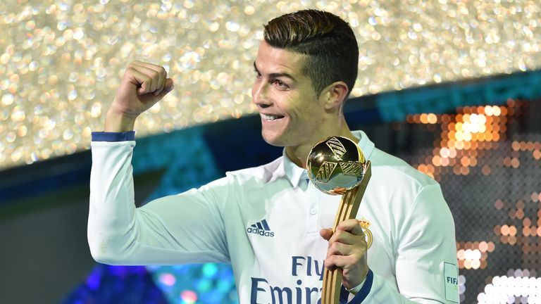 Ronaldo lifted the Golden Ball trophy after winning the Club World Cup