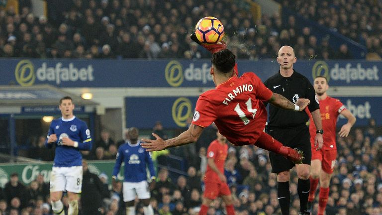Roberto Firmino attempts an acrobatic effort