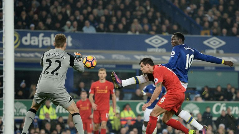 Romelu Lukaku looks to test Simon Mignolet