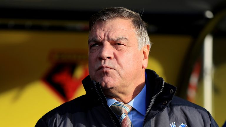 Sam Allardyce looks on before the Premier League match between Watford and Crystal Palace