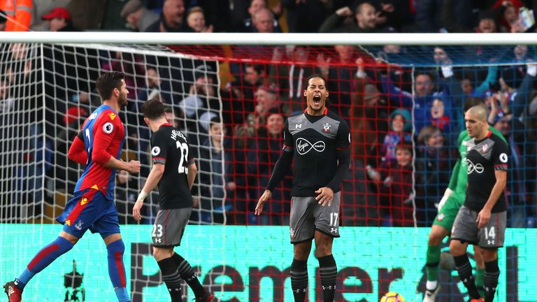 Virgil van Dijk of Southampton reacts after Crystal Palace's second goal