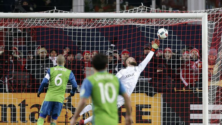 Seattle Sounders goalkeeper Stefan Frei (24) makes a save in overtime during the MLS Cup final a year ago