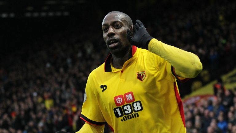 Okaka wheels away in celebrations after scoring Watford's equaliser
