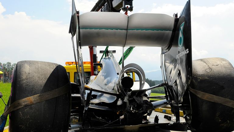 The crashed Mercedes car of Nico Rosberg at the Austrian GP - Picture from Sutton Images