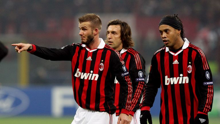 Ronaldinho signed for Milan in July 2008 and played alongside David Beckham and Andrea Pirlo