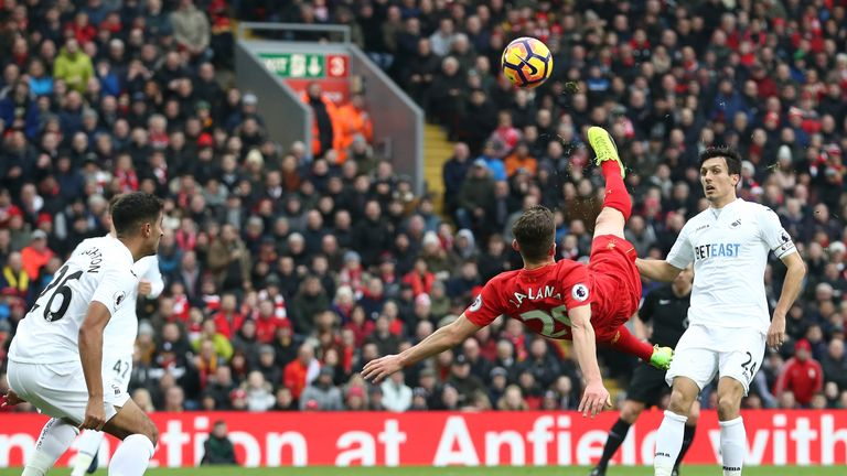 Adam Lallana attempts an overhead kick