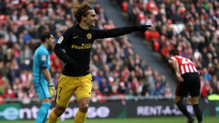 Atletico Madrid's French forward Antoine Griezmann celebrates after scoring late on against Athletic Bilbao