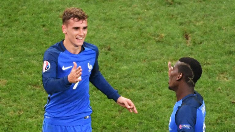 Antoine Griezmann (L) was the top scorer for France in Euro 2016