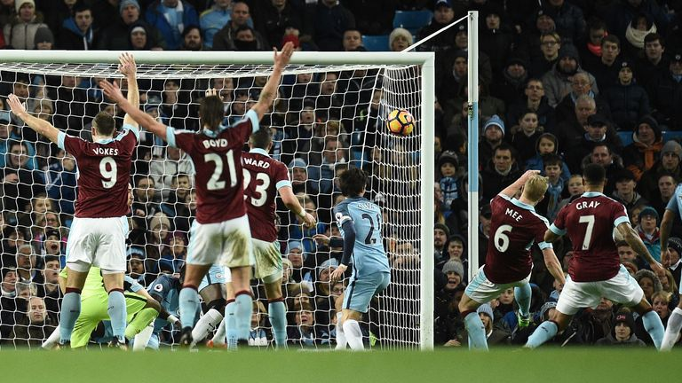 Ben Mee claimed Burnley's only goal of the game at the Etihad
