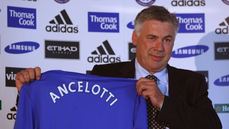 Ancelotti poses at his unveiling as Chelsea manager in June 2009
