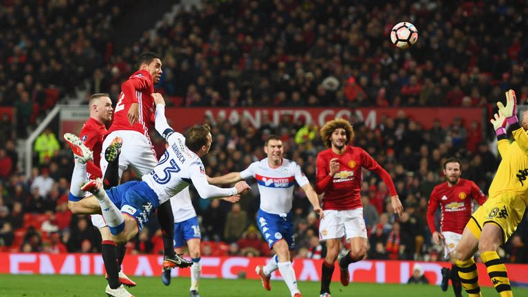 Chris Smalling grabbed Manchester United's second goal after half-time